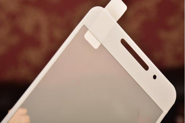 Фирменное защитное противоударное стекло которое полностью закрывает экран из качественного японского материала с олеофобным покрытием для телефона Meizu M3 Note с защитой сенсорных кнопок и камеры
