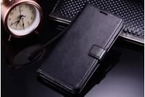 Фирменный чехол-книжка из качественной импортной кожи с подставкой застёжкой и визитницей для Мэйзу/Мейзу М3 Ноте/ Meizu M3 Note черный
