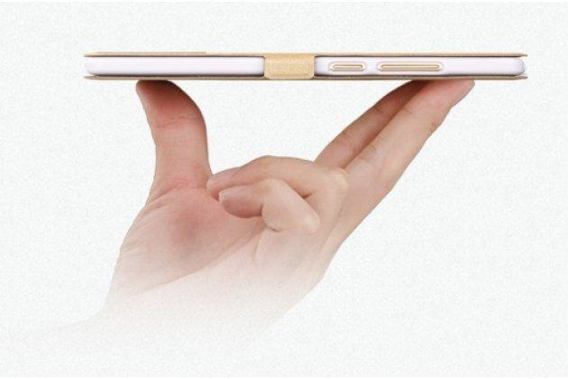 Фирменный чехол-книжка  с окошком для входящих вызовов и свайпом  для Meizu M3 Note  водоотталкивающий золотой