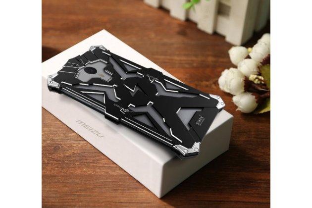 """Противоударный металлический чехол-бампер из цельного куска металла с усиленной защитой углов и необычным экстремальным дизайном  для Meizu M3 Note 5.5"""" (m681q/c) черного цвета"""