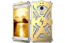 """Противоударный металлический чехол-бампер из цельного куска металла с усиленной защитой углов и необычным экстремальным дизайном  длям  Meizu M3 Note 5.5"""" (m681q/c) золотого цвета"""