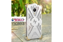 Противоударный металлический чехол-бампер из цельного куска металла с усиленной защитой углов и необычным экстремальным дизайном для Meizu M3 Note серебряного цвета