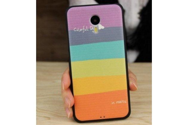 """Фирменная ультра-тонкая полимерная из мягкого качественного силикона задняя панель-чехол-накладка для Meizu M3 Note тематика """"все цвета радуги"""""""