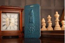 Фирменный роскошный эксклюзивный чехол с объёмным 3D изображением головы крокодила синий для Meizu M5 (M611A) 5.2 . Только в нашем магазине. Количество ограничено
