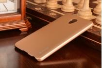 Фирменная ультра-тонкая пластиковая задняя панель-чехол-накладка для Meizu M3E (A680H) 5.5 золотая