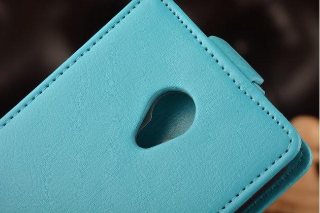 """Фирменный оригинальный вертикальный откидной чехол-флип для Meizu M3/ M3 Metal/ M3S/ M3s Mini 5.0"""" (M688Q) голубой кожаный"""