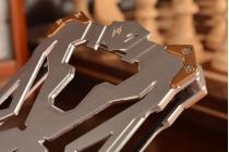 """Противоударный металлический чехол-бампер из цельного куска металла с усиленной защитой углов и необычным экстремальным дизайном  для Meizu M3/ M3 Metal/ M3S/ M3s Mini 5.0"""" (M688Q) серебряного цвета"""