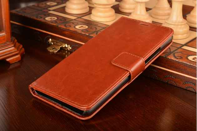 Фирменный чехол-книжка из качественной импортной кожи с подставкой застёжкой и визитницей для Мэйзу/Мейзу М3 Ноте/ Meizu M3 Note коричневый