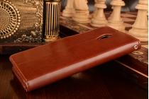 """Фирменный чехол-книжка для Мейзу М3/ М3 Метал / М3с/ М3с мини 5.0"""" с визитницей и мультиподставкой коричневый кожаный"""