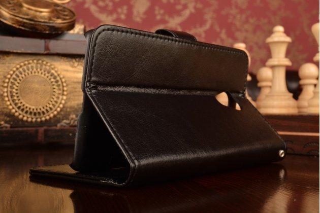 """Фирменный чехол-книжка для Мейзу М3/ М3 Метал / М3с/ М3с мини 5.0"""" с визитницей и мультиподставкой черный кожаный"""