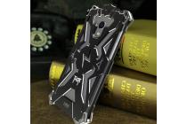 """Противоударный металлический чехол-бампер из цельного куска металла с усиленной защитой углов и необычным экстремальным дизайном  для Meizu M3/ M3 Metal/ M3S/ M3s Mini 5.0"""" (M688Q) черного цвета"""