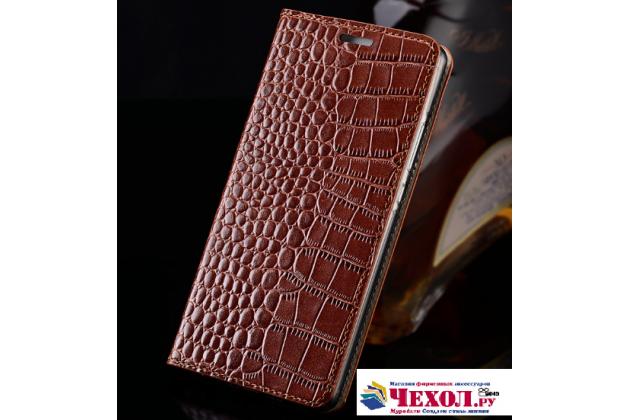 """Фирменный роскошный эксклюзивный чехол из лаковой кожи крокодила коричневый для Meizu M5 Note"""""""