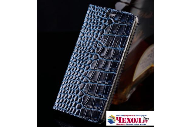 """Фирменный роскошный эксклюзивный чехол из лаковой кожи крокодила синий для Meizu M5 Note"""""""