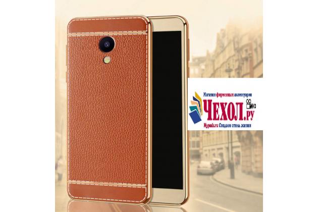 Фирменная премиальная элитная крышка-накладка на for Meizu M5 Note коричневая из качественного силикона с дизайном под кожу