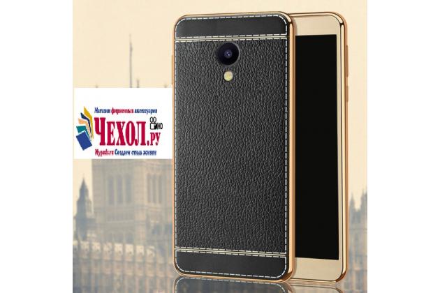 Фирменная премиальная элитная крышка-накладка на Meizu M5 Note черная из качественного силикона с дизайном под кожу