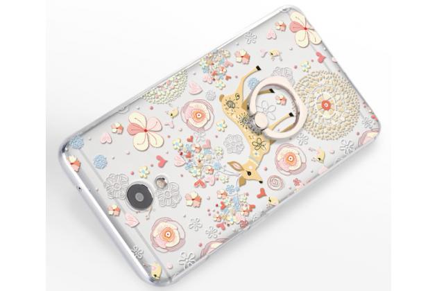 """Фирменная задняя панель-чехол-накладка из прозрачного 3D силикона с объёмным рисунком  для Meizu M5 Note"""" """"тематика Олень"""""""