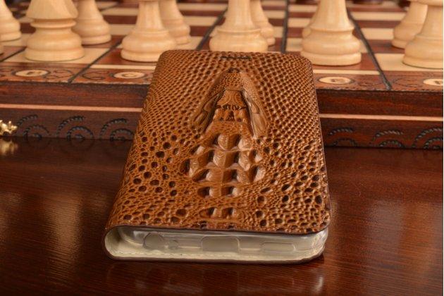 Фирменный роскошный эксклюзивный чехол с объёмным 3D изображением головы крокодила коричневый для Meizu M5 (M611A) 5.2 . Только в нашем магазине. Количество ограничено