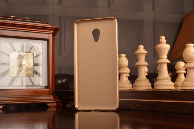 Фирменная задняя панель-крышка-накладка из тончайшего и прочного пластика для Meizu M5 (M611A) 5.2 золотая