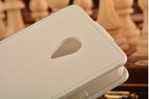 """Фирменный оригинальный вертикальный откидной чехол-флип для Meizu MX4 Pro из натуральной кожи белый """"Prestige"""" Италия"""
