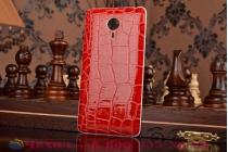 Элитная задняя панель-крышка премиум-класса из тончайшего и прочного пластика обтянутого кожей крокодила для Meizu MX4 Pro красная