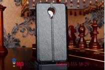 Фирменный оригинальный чехол-книжка для Meizu MX4 Pro черный кожаный с окошком для входящих вызовов
