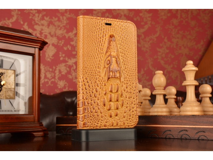 Фирменный роскошный эксклюзивный чехол с объёмным 3D изображением кожи крокодила коричневый для Meizu MX4. Тол..