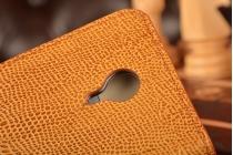 Фирменный роскошный эксклюзивный чехол с объёмным 3D изображением кожи крокодила коричневый для Meizu MX4. Только в нашем магазине. Количество ограничено