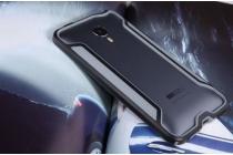 Фирменный оригинальный чехол-бампер для Meizu MX4 черный металлический усиленный