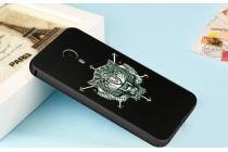 """Фирменный ударопрочный усиленный чехол-бампер-накладка для Meizu MX4 черный металлический  тематика """"Готический Лев"""""""