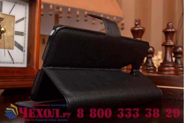 Фирменный чехол-книжка из качественной импортной кожи с мульти-подставкой застёжкой и визитницей для Мейзу МХИкс5 черный