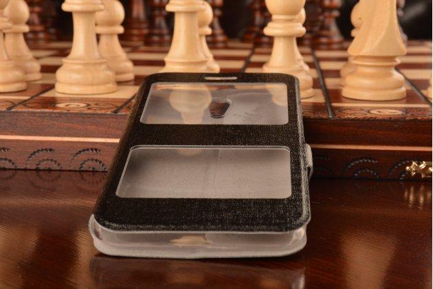 Фирменный чехол-книжка для Meizu MX5 черный с окошком для входящих вызовов и свайпом водоотталкивающий