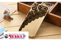 """Фирменная задняя панель-чехол-накладка из прозрачного 3D  силикона с объёмным рисунком для Meizu MX6 5.5""""  """"тематика Черное кружево"""" которая огибает логотип чтобы была видна марка телефона"""
