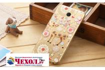 """Фирменная задняя панель-чехол-накладка из прозрачного 3D  силикона с  объёмным рисунком для Meizu MX6 5.5"""" тематика """"оленя в цветах"""" которая огибает логотип чтобы была видна марка телефона"""