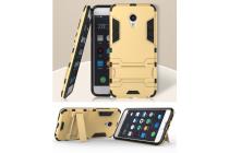 """Противоударный усиленный ударопрочный фирменный чехол-бампер-пенал для Meizu MX6 5.5""""  золотой"""