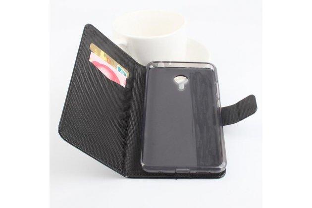 """Фирменный чехол-книжка из качественной импортной кожи с подставкой застёжкой и визитницей для Meizu Metal/ Meilan Metal /M57A/MA01 5.5"""" черный"""