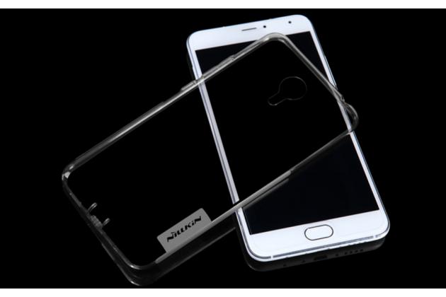 """Фирменная ультра-тонкая полимерная из мягкого качественного силикона  с заглушками задняя панель-чехол-накладка для Meizu Metal/ Meilan Metal /M57A/MA01 5.5"""" серебристая"""