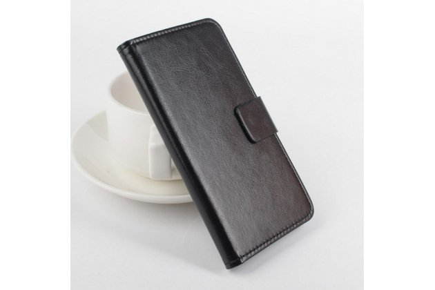 """Фирменный чехол-книжка из качественной импортной кожи с подставкой застёжкой и визитницей для Мейзу Про 5 5.7"""" черный"""