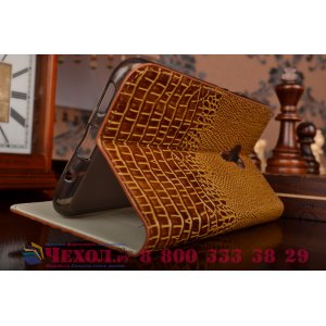 """Фирменный роскошный эксклюзивный чехол с объёмным 3D изображением кожи крокодила коричневый для Meizu Pro 5 5.7"""" . Только в нашем магазине. Количество ограничено"""