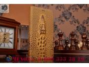 Фирменный роскошный эксклюзивный чехол с объёмным 3D изображением кожи крокодила коричневый для Meizu Pro 5 5...
