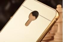 """Фирменная металлическая задняя панель-крышка-накладка из тончайшего облегченного авиационного алюминия для Meizu Pro 5 5.7"""" золотая"""