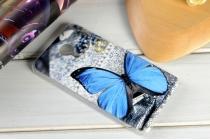 """Фирменная необычная из легчайшего и тончайшего пластика задняя панель-чехол-накладка для Meizu Pro 5 5.7"""" """"тематика Голубая Бабочка"""""""