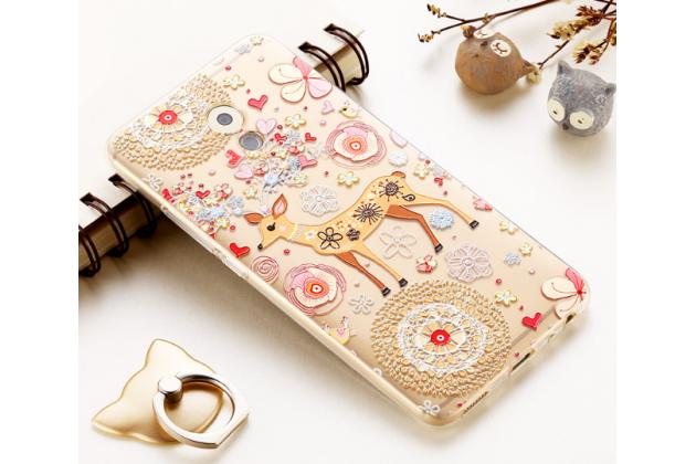"""Фирменная задняя панель-чехол-накладка из прозрачного 3D силикона с объёмным рисунком для Meizu Pro 6 Plus тематика """"оленя в цветах"""" которая огибает логотип чтобы была видна марка телефона"""