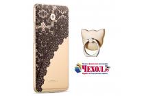 """Фирменная задняя панель-чехол-накладка из прозрачного 3D силикона с объёмным рисунком для Meizu Pro 6 Plus """"тематика Черное кружево"""" которая огибает логотип чтобы была видна марка телефона"""