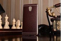 Фирменная премиальная элитная крышка-накладка на Meizu Pro 6 Plus коричневая из качественного силикона с дизайном под кожу