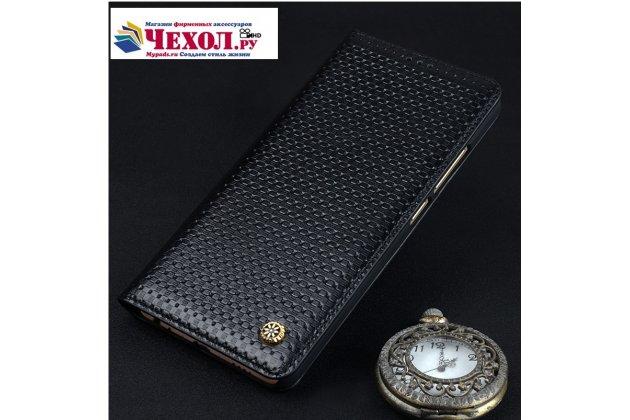 Фирменный качественный элитный премиальный чехол для телефона Meizu Pro 6 Plus из качественной натуральной кожи черный