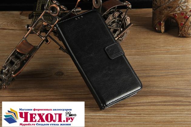 Фирменный чехол-книжка из качественной импортной кожи с подставкой застёжкой и визитницей для Meizu Pro 6 Plus черный