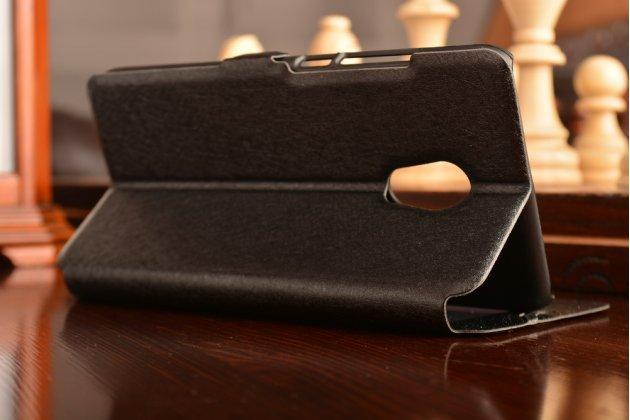 Фирменный чехол-книжка  с окошком для входящих вызовов и свайпом  для Meizu Pro 6  водоотталкивающий черный