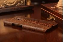 """Фирменная элегантная экзотическая задняя панель-крышка с фактурной отделкой натуральной кожи крокодила кофейного цвета для Meizu Pro 5 5.7"""". Только в нашем магазине. Количество ограничено."""