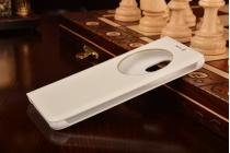 """Фирменный оригинальный чехол-кейс из импортной кожи Loop Jacket для Meizu Pro 6 5.2"""" с умным окном белый"""