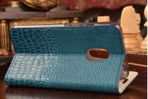 Фирменный роскошный эксклюзивный чехол с объёмным 3D изображением рельефа кожи крокодила синий для Meizu Pro 6. Только в нашем магазине. Количество ограничено